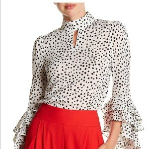 Tops - Keyhole Long Sleeve Print Blouse